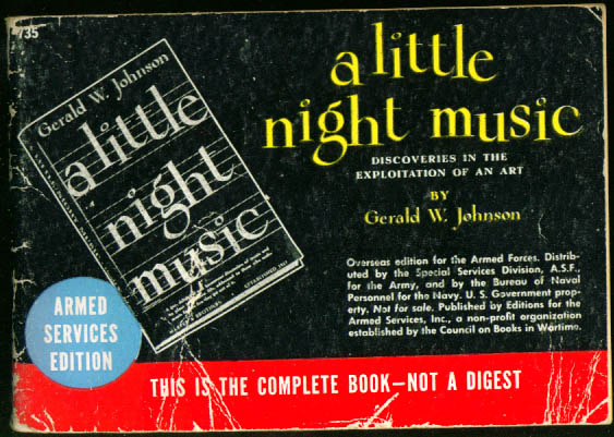 Image for ASE 735 Gerald W Johnson: A Little Night Music