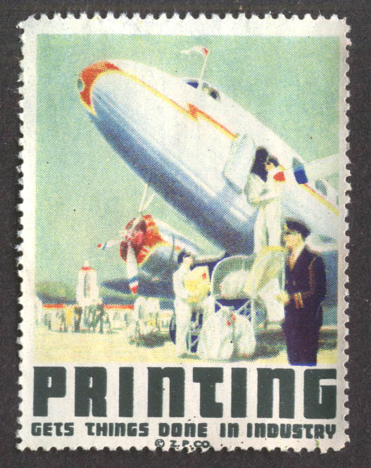 Printing Gets Things Done in Industry DC-3 airliner cinderella stamp 1940s