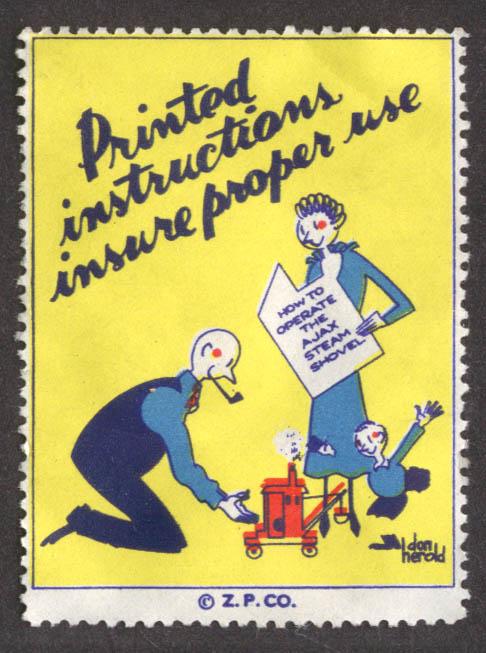 Printed instructions insure proper use toy steam shovel cinderella stamp 1930s