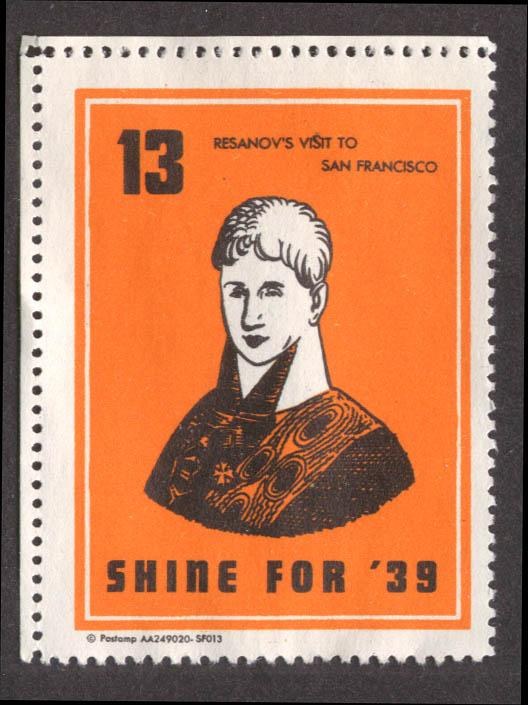 Resanov's Visit to San Francisco Shine for '39 cinderella stamp #13