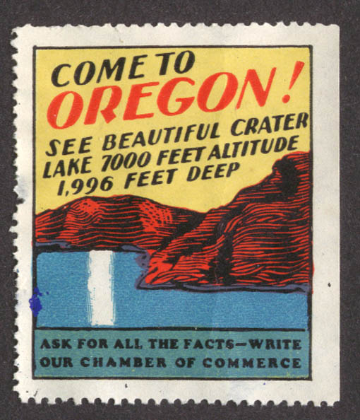 Crater Lake 7000 ft up Oregon Chamber of Commece cinderella stamp 1930s