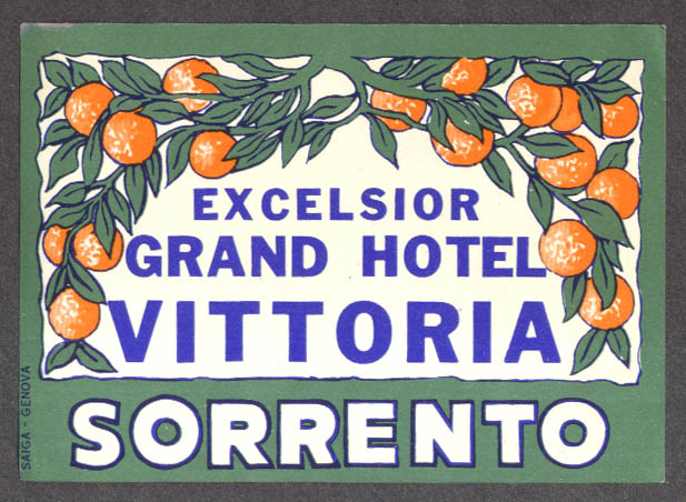 Excelsior Grand Hotel Vittoria Sorrento Italy luggage sticker ca 1930s