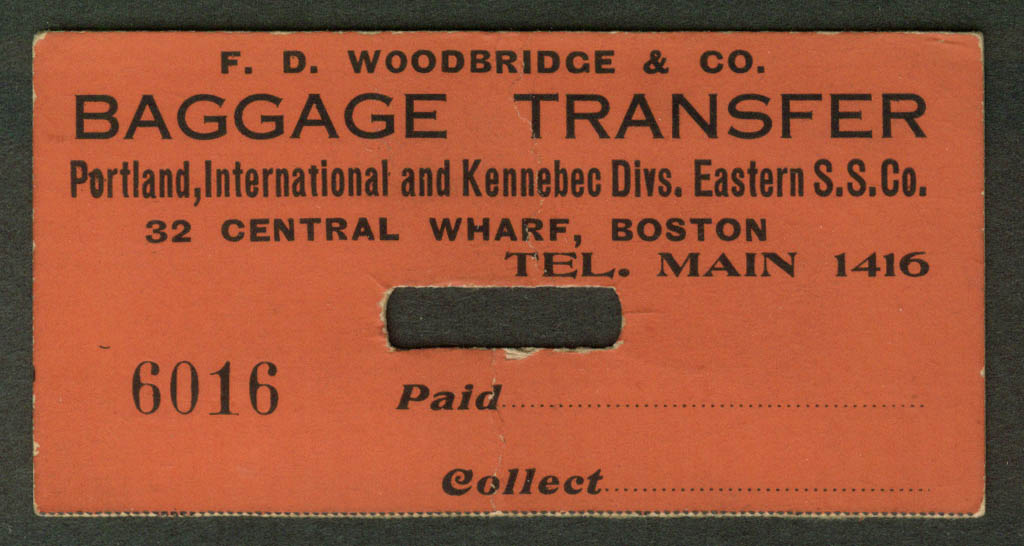 Portland International & Kennebec Eastern Steamship Co Baggage Transfer tag 20s