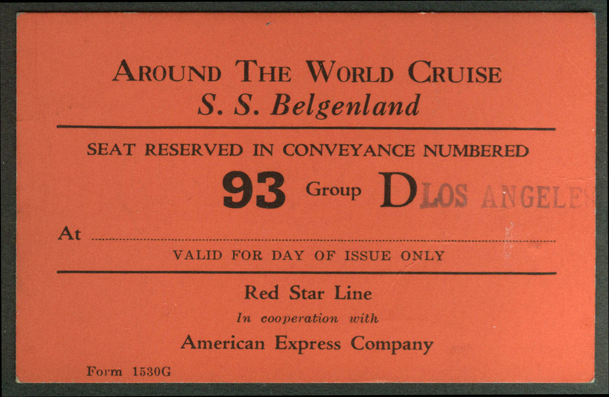 Red Star Line S S Belgenland Round the World Cruise conveyance card ca 1930