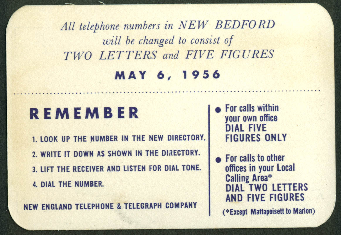 New England Telephone & Telegraph New Bedford Exchange Change card 1956