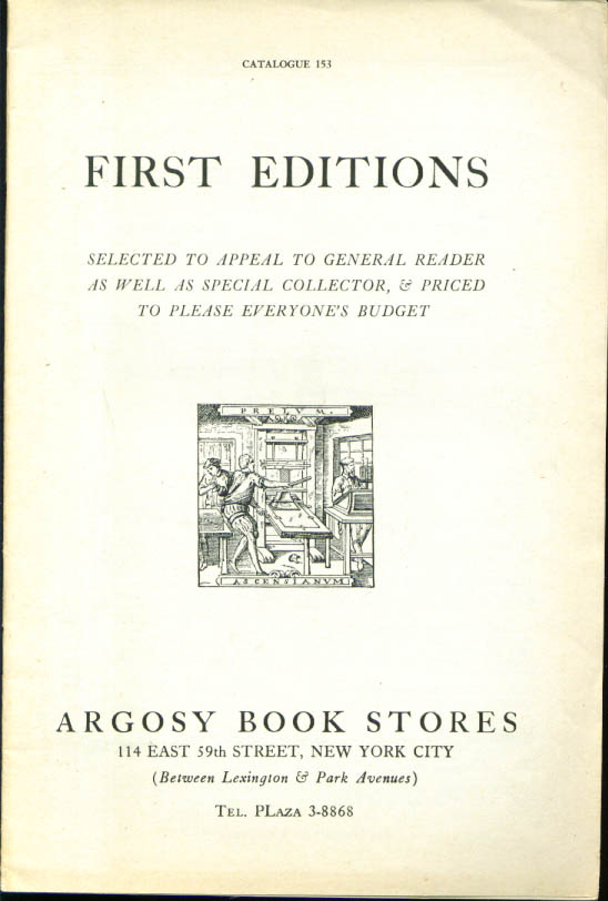 Image for Argosy Book Stores 1st editions catalog #153