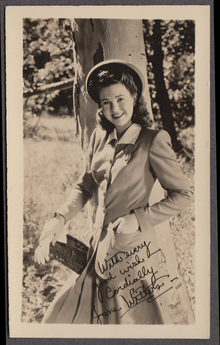 Actress Jane Withers in suit & hat fan club photo 1940s facsimile signature