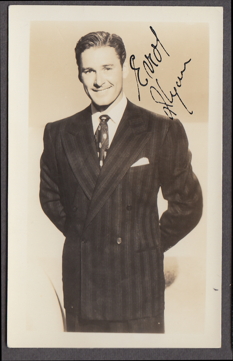 Actor Errol Flynn fan club photo 1940s facsimile signature