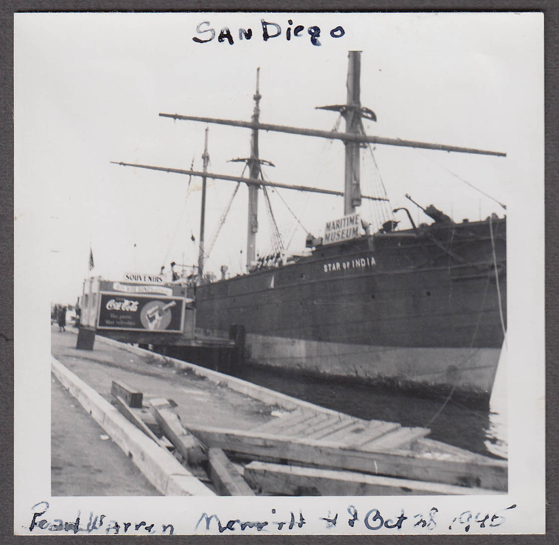 Image for Star of India San Diego Maritime Museum snapshot 1945 Coca-Cola sign