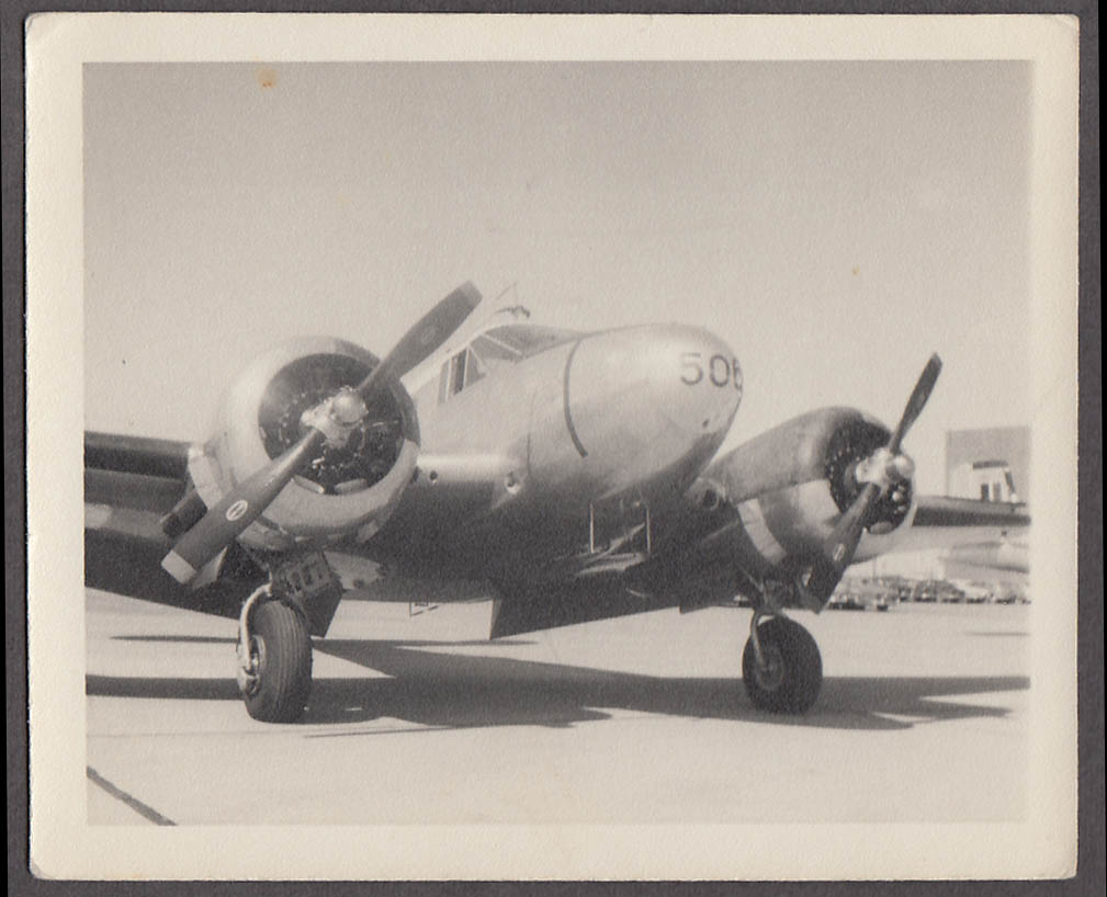Image for Lockheed Electra 14 #506 on tarmac snapshot 1940s Cold Lake Station Canada