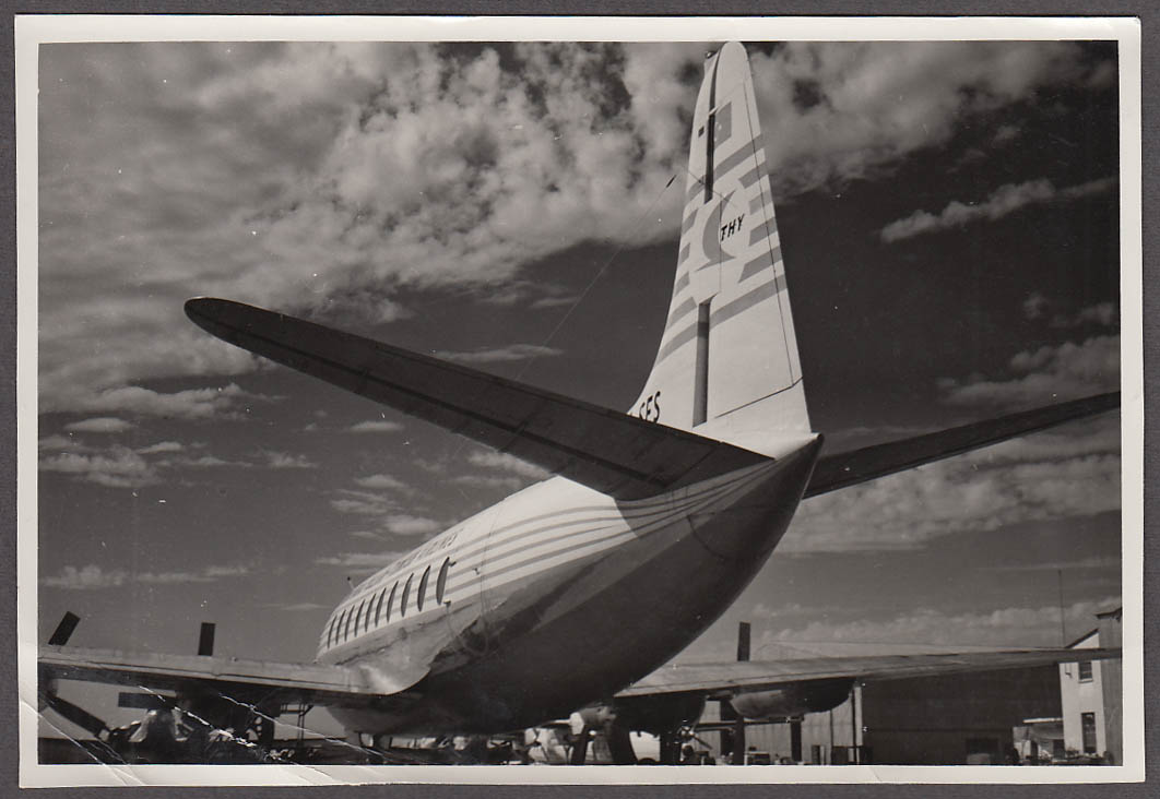Image for Türk Hava Yollari THY Turkish Airlines Lockheed Electra tail view photo ca 1950s
