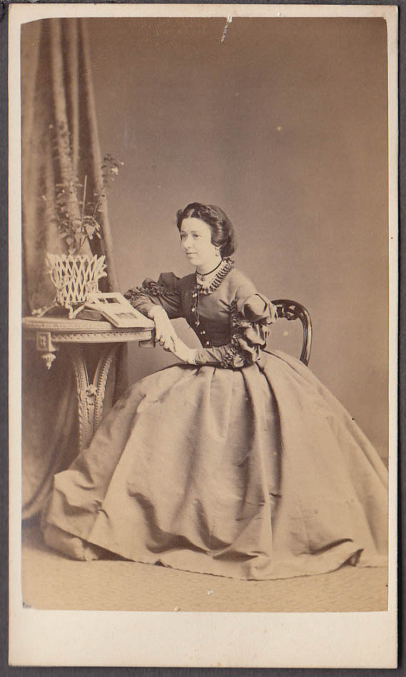 Image for Seated woman vase table open book CDV by G Fehrenbach London England 1860s