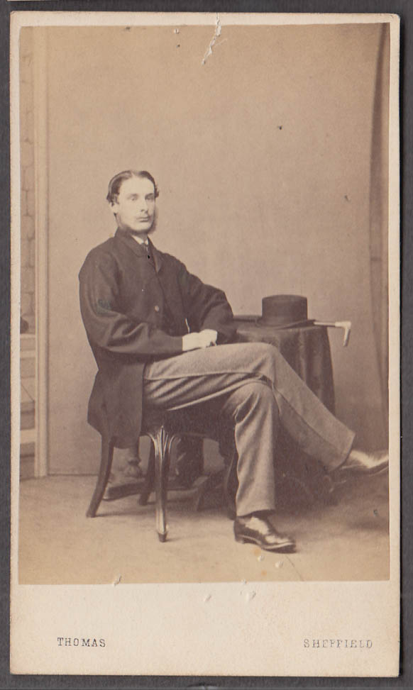 Image for Seated man chin whiskers hat & cane CDV by J Thomas Sheffield England 1860s