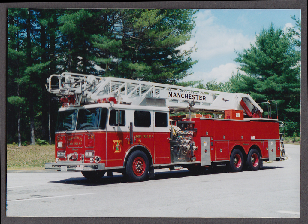 Image for Manchester MA FD Seagrave Platform Ladder Truck Engine #4 fire truck photo