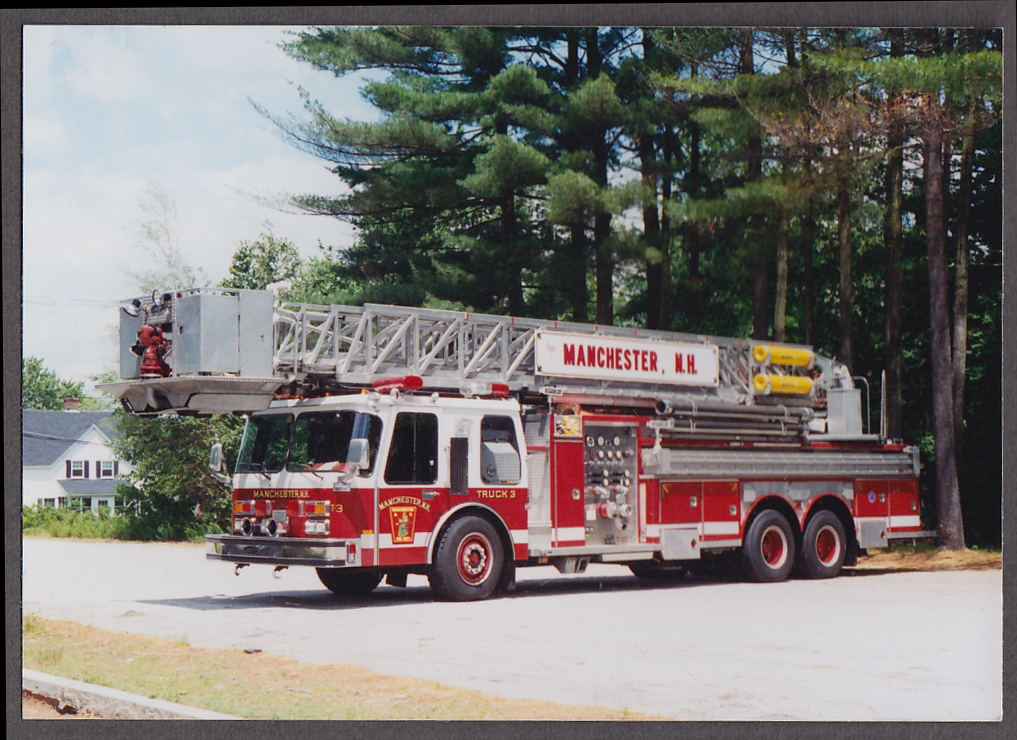 Image for Manchester MA FD Platform Tower Ladder Truck Engine #3 fire truck photo
