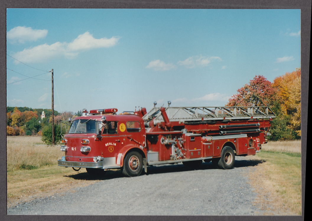 Image for Berlin MA FD Ladder Truck Engine #1 fire truck photo on driveway