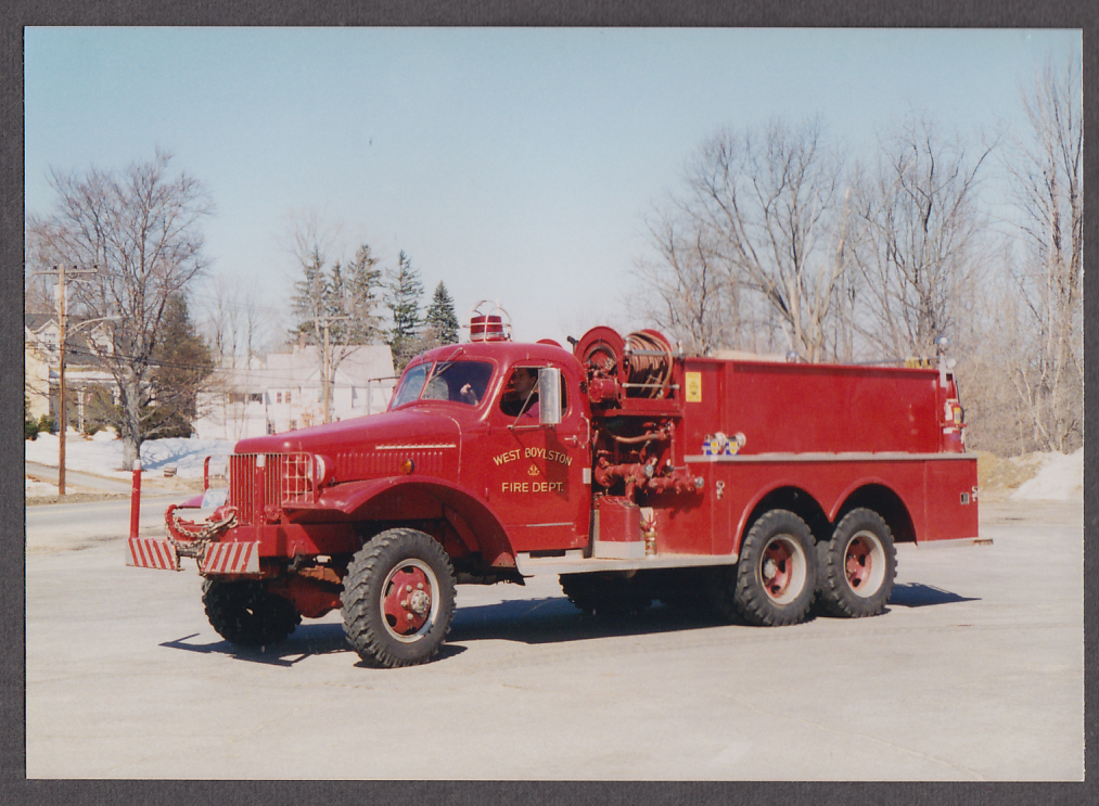 Image for West Boylston MA FD 1940s International Pumper Engine fire truck photo