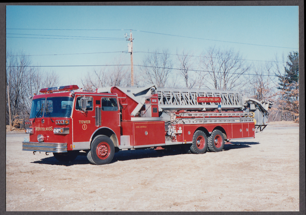 Image for Webster MA FD Mxim Tower Ladder Engine #1 fire truck photo