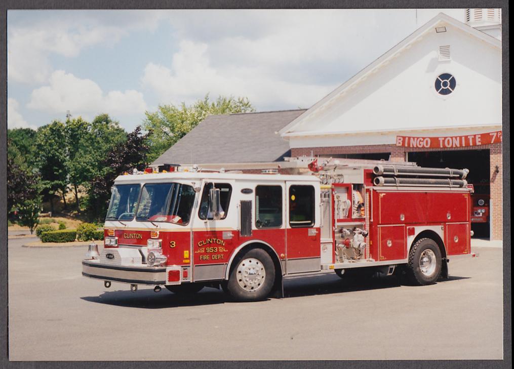 Image for Clinton MA FD E-One Pumper Engine #953 fire truck photo