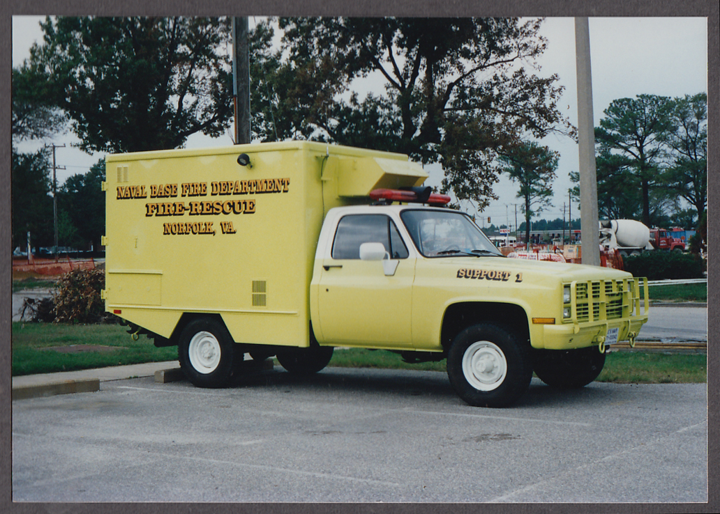 Image for US Naval Base FD Norfolk VA Chevrolet Fire-Rescue Support #1 fire truck photo