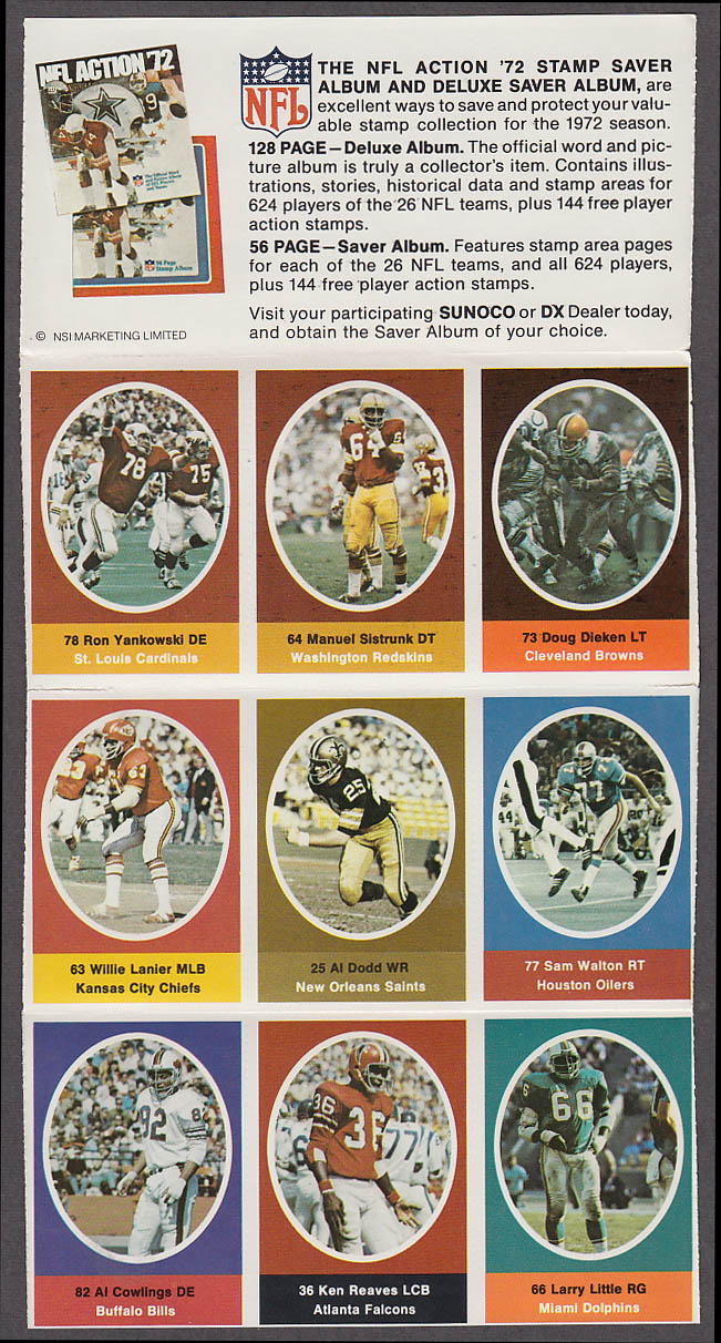 1972 NFL '72 Sunoco DX stamp set of 9 HOF Chiefs Lanier Dolphins Larry Little