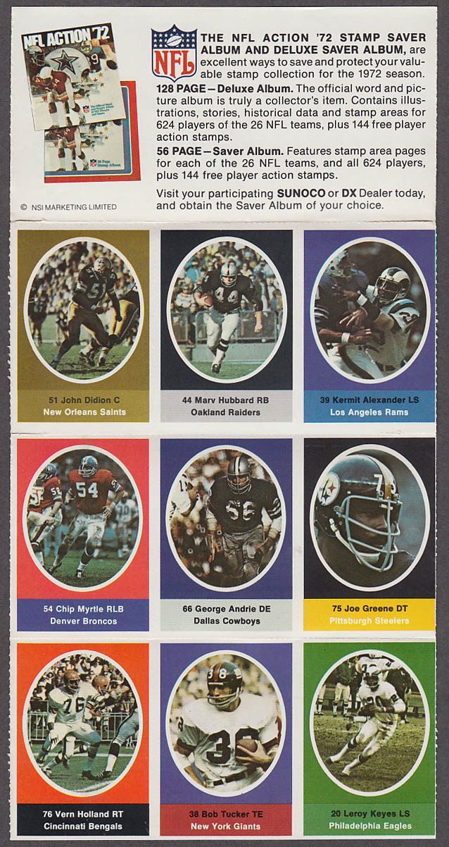1972 NFL '72 Sunoco DX stamp set of 9 HOF Steelers Mean Joe Greene +