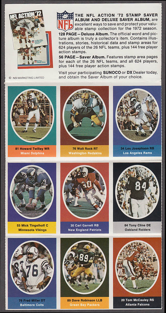 1972 NFL '72 Sunoco DX stamp set of 9 HOF Packers Dave Robinson +