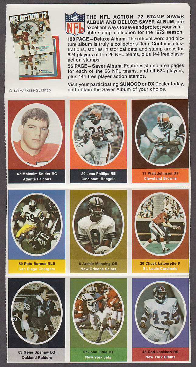 1972 NFL '72 Sunoco DX stamp set of 9 HOF Raiders Gene Upshaw + Archie Manning
