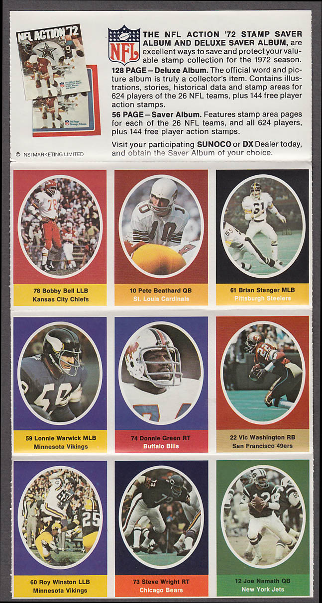 1972 NFL '72 Sunoco DX stamp set of 9 HOF Jets Joe Namath Chiefs Bobby Bell +