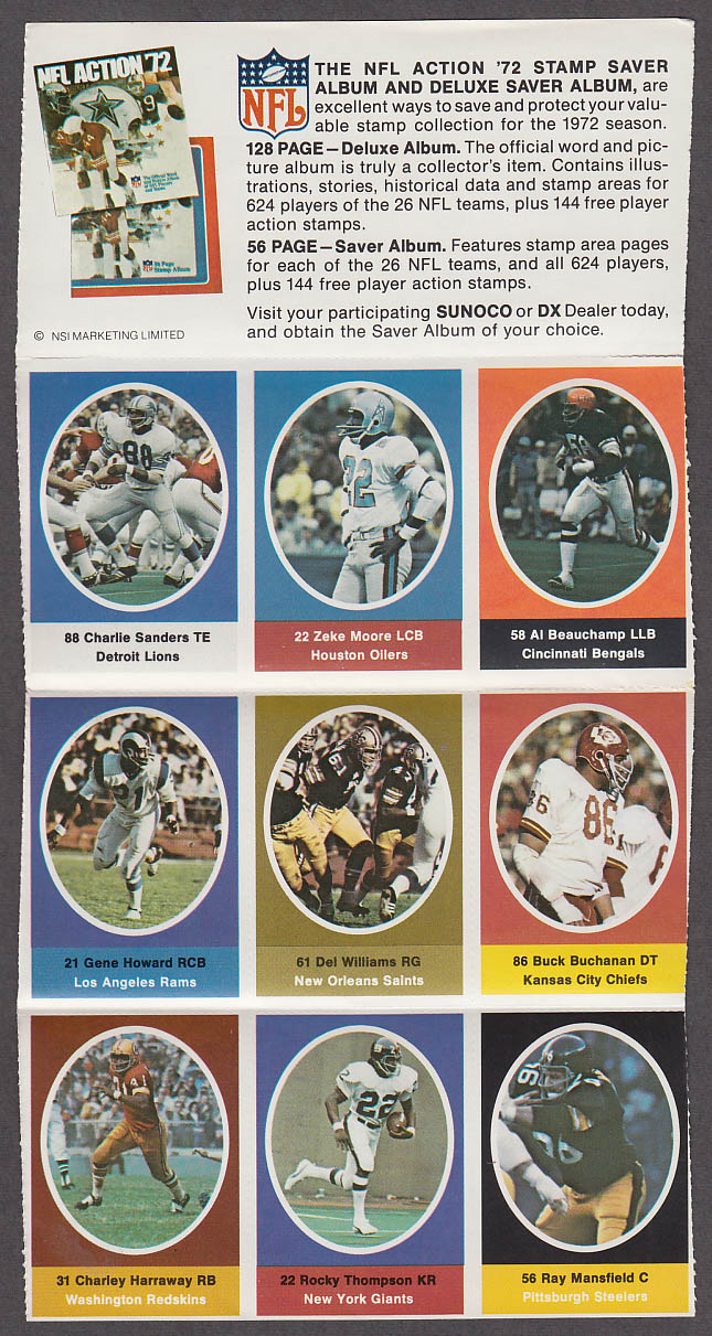 1972 NFL '72 Sunoco DX stamp set of 9 HOF Lions Charlie Sanders Chiefs Buchanan