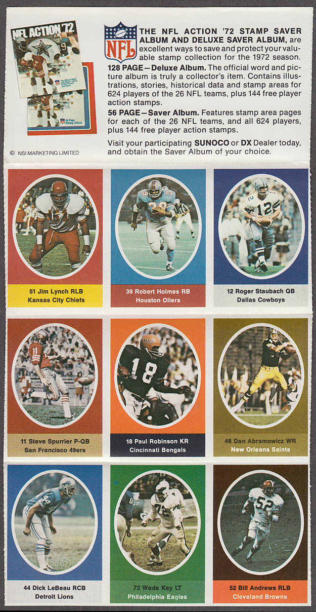1972 NFL '72 Sunoco DX stamp set of 9 HOF Cowboys Staubach Lions Dick LeBeau +