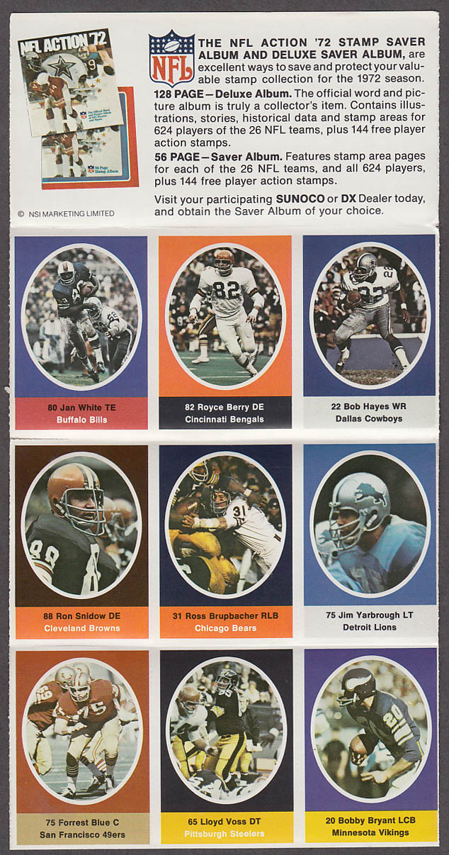 1972 NFL '72 Sunoco DX stamp set of 9 HOF Cowboys Bob Hayes +