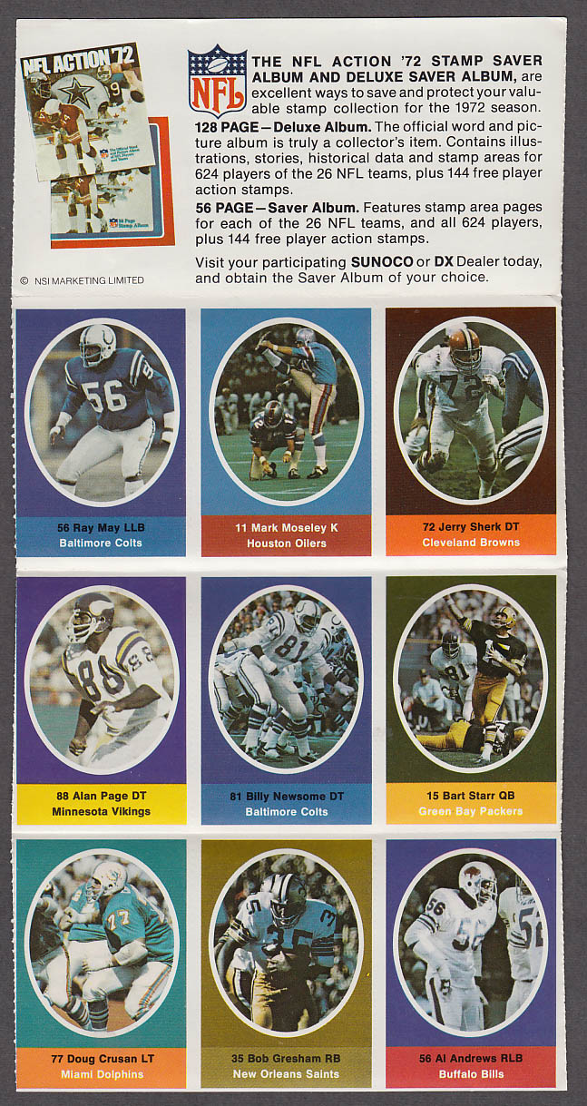1972 NFL '72 Sunoco DX stamp set of 9 HOF Packers Bart Starr Vikings Alan Page +