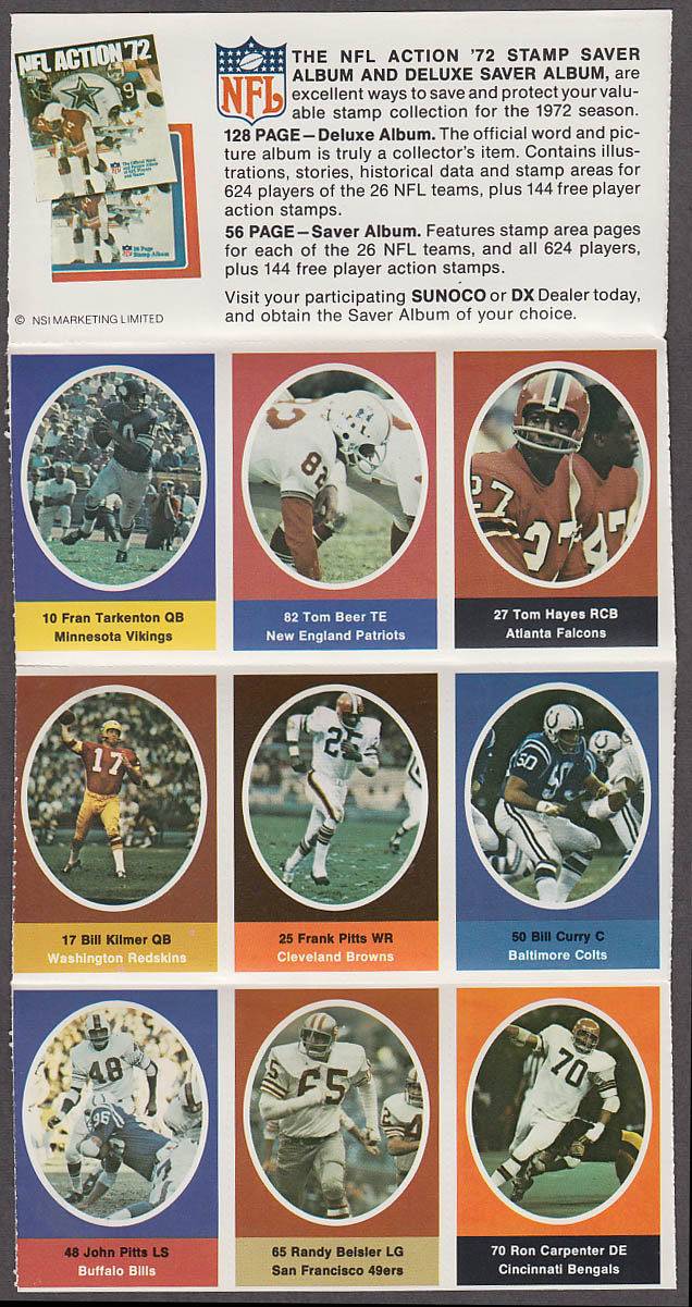 1972 NFL '72 Sunoco DX stamp set of 9 HOF Vikings Fran Tarkenton + Bill Kilmer