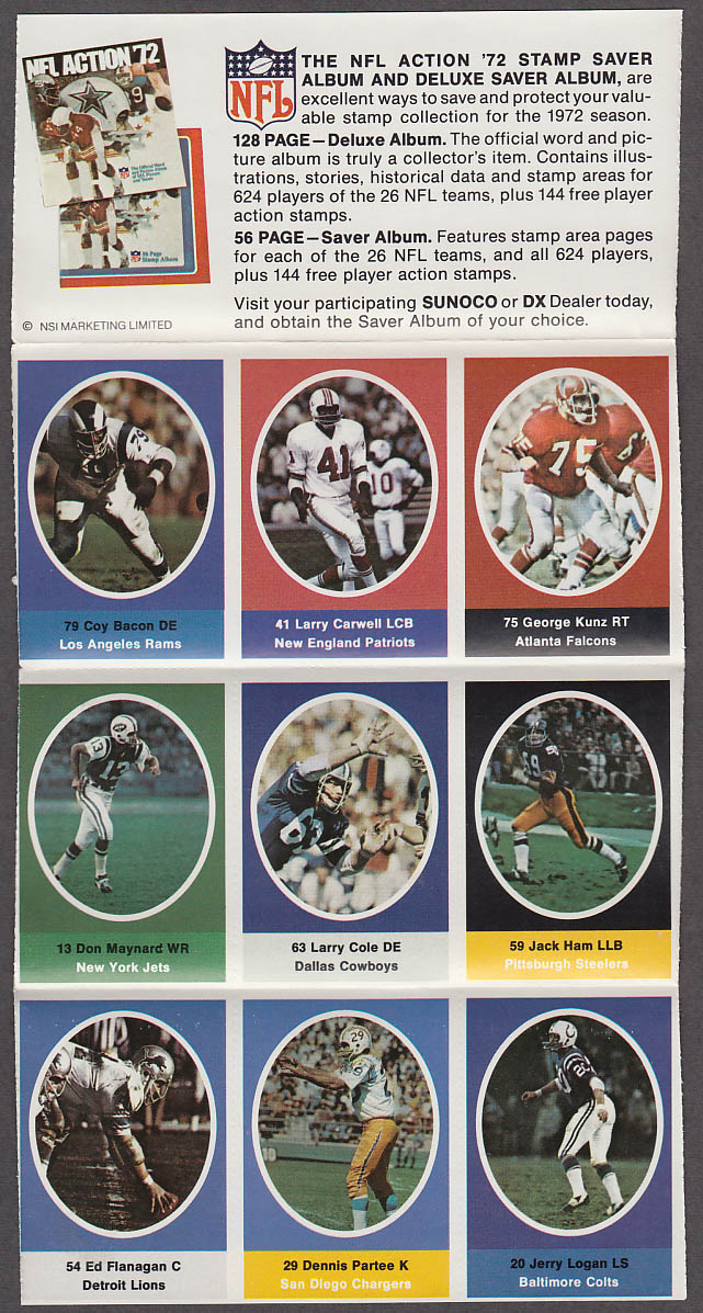 1972 NFL '72 Sunoco DX stamp set of 9 HOF Jets Don Maynard Steelers Jack Ham +