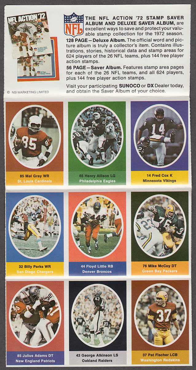 1972 NFL '72 Sunoco DX stamp set of 9 HOF Broncos Floyd Little #1