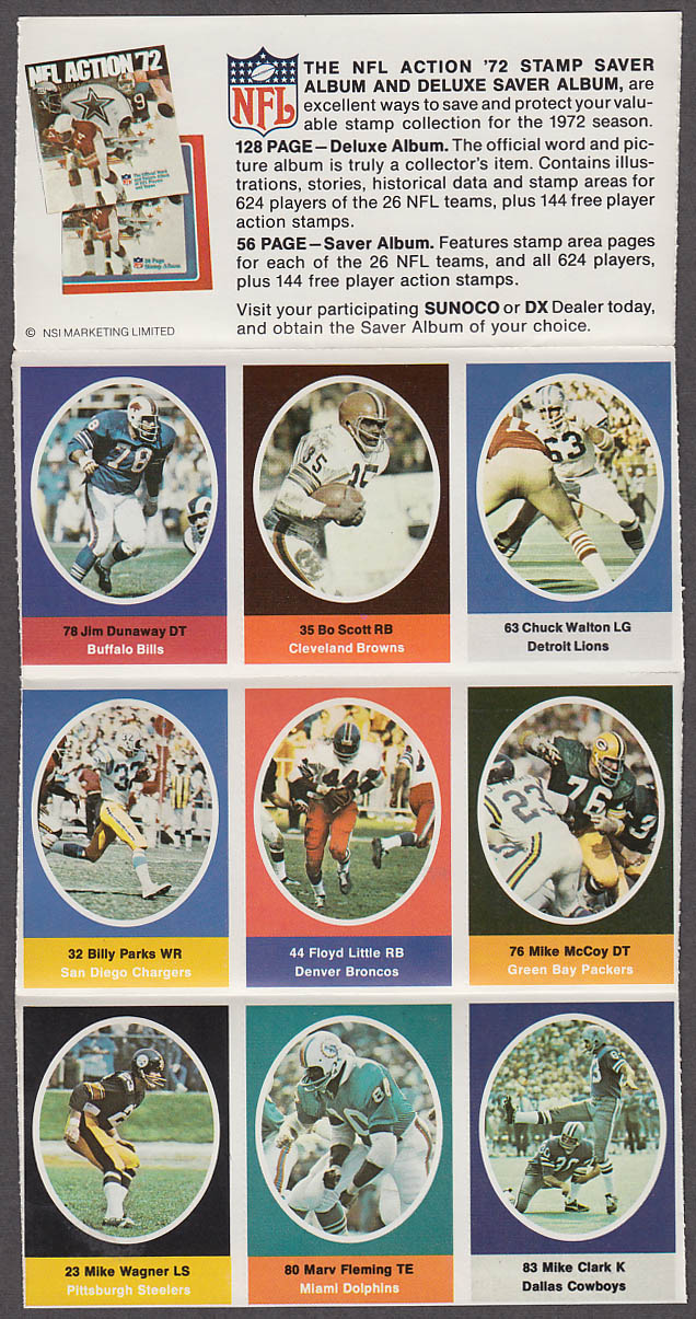 1972 NFL '72 Sunoco DX stamp set of 9 HOF Broncos Floyd Little #2