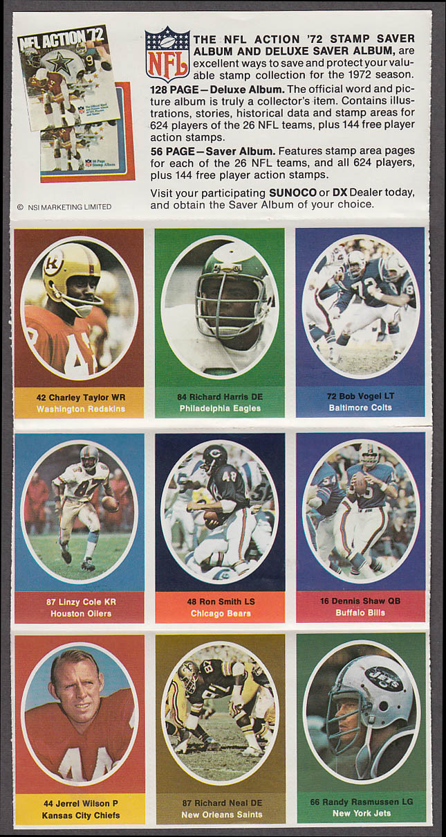 1972 NFL '72 Sunoco DX stamp set of 9 HOF Redskins Charley Taylor ++