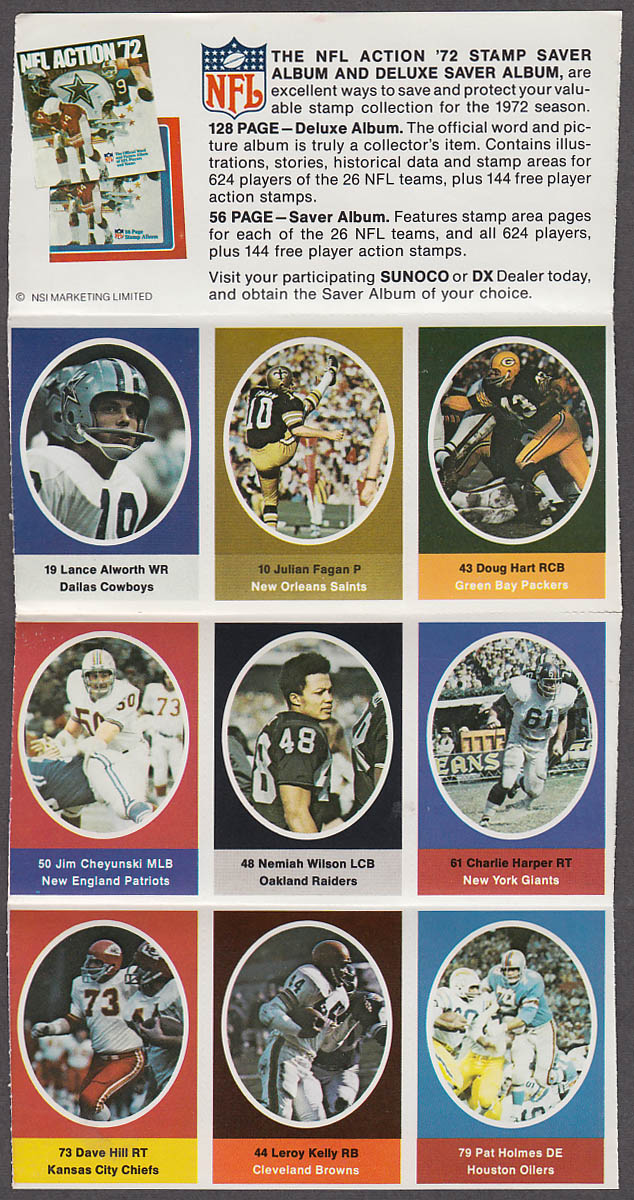 1972 NFL '72 Sunoco DX stamp set of 9 HOF Cowboys Alworth Browns LeRoy Kelly +