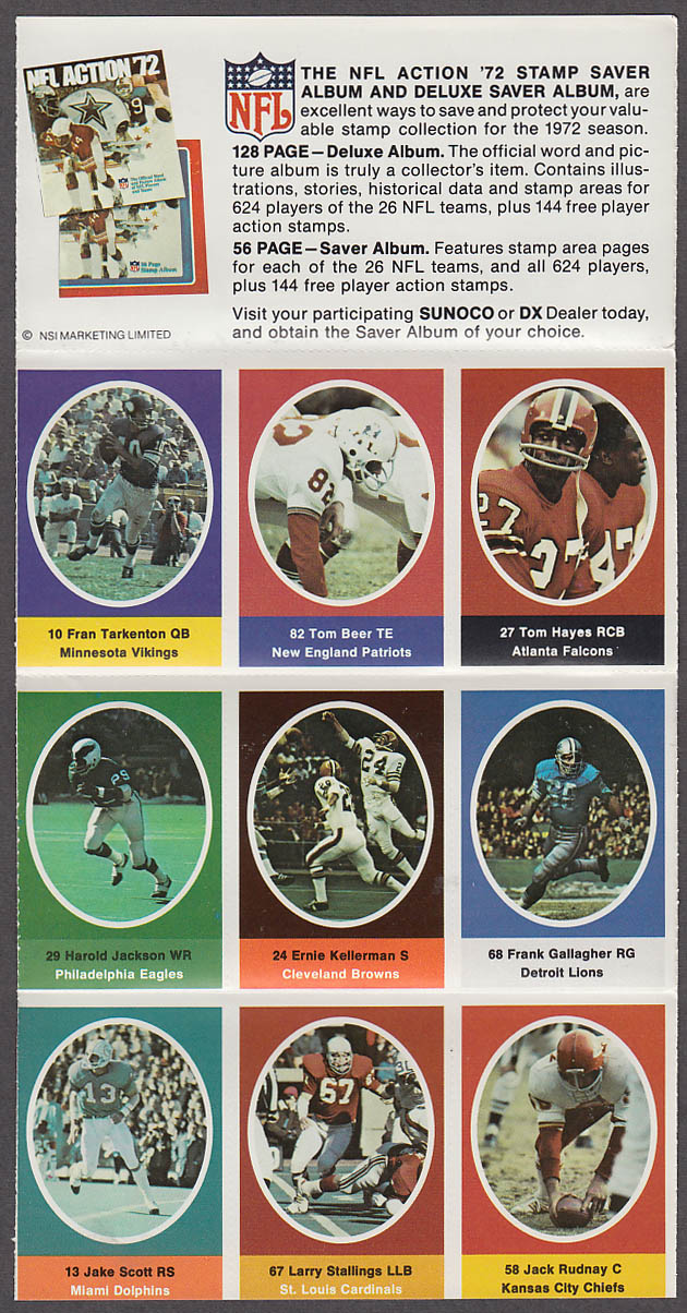 1972 NFL '72 Sunoco DX stamp set of 9 HOF Vikings Fran Tarkenton + Jake Scott
