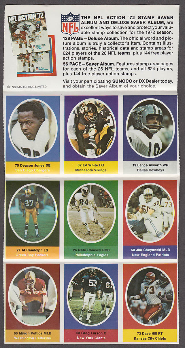 1972 NFL '72 Sunoco DX stamp set of 9 HOF Cowboys Alworth Chargers Deacon Jones