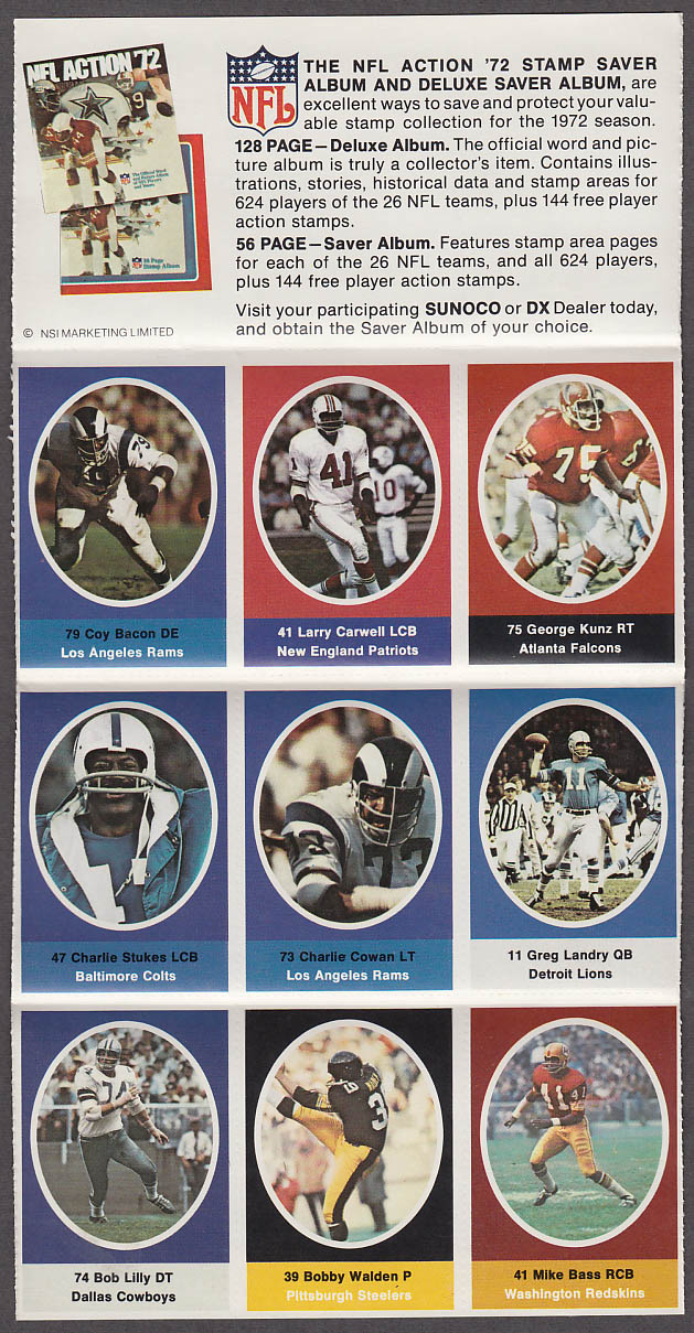 1972 NFL '72 Sunoco DX stamp set of 9 HOF Cowboys Bob Lilly + Greg Landry