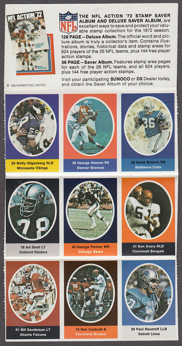 1972 NFL '72 Sunoco DX stamp set of 9 HOF Raiders Art Shell + Cockroft Bulaich +