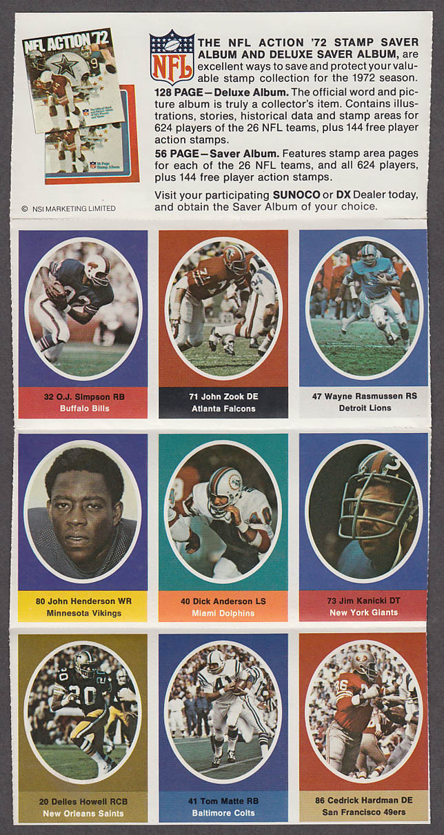 1972 NFL '72 Sunoco DX stamp set of 9 HOF Buffalo Bills O J Simpson + Tom Matte