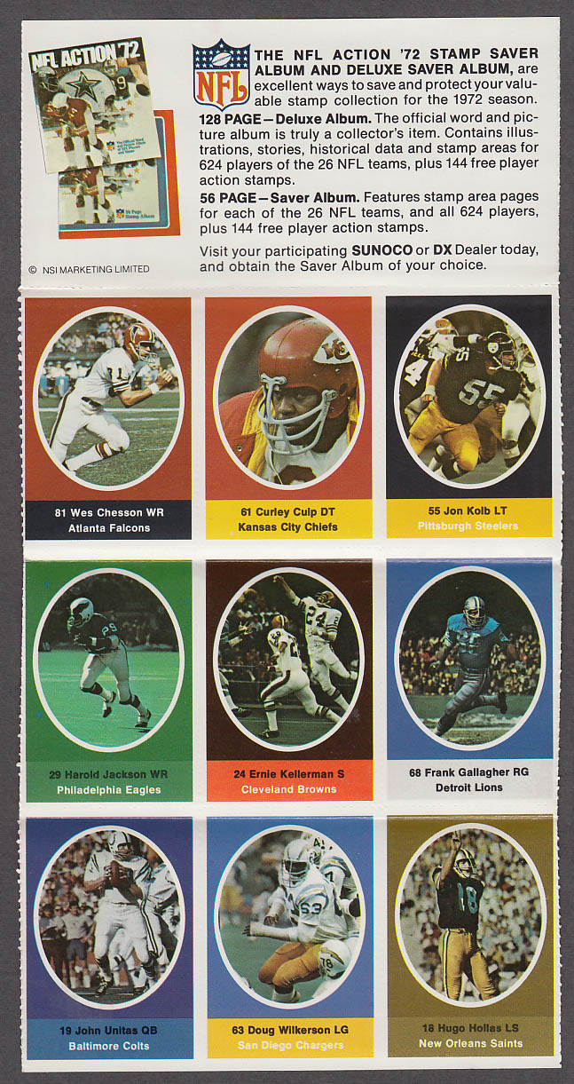 1972 NFL '72 Sunoco DX stamp set of 9 HOF Colts John Unitas Chiefs Curley Culp +