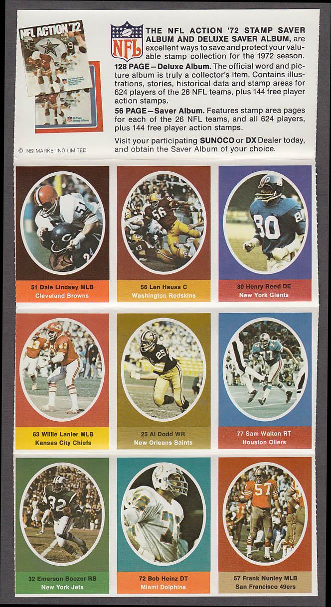1972 NFL '72 Sunoco DX stamp set of 9 HOF Chiefs Willie Lanier + Emerson Boozer