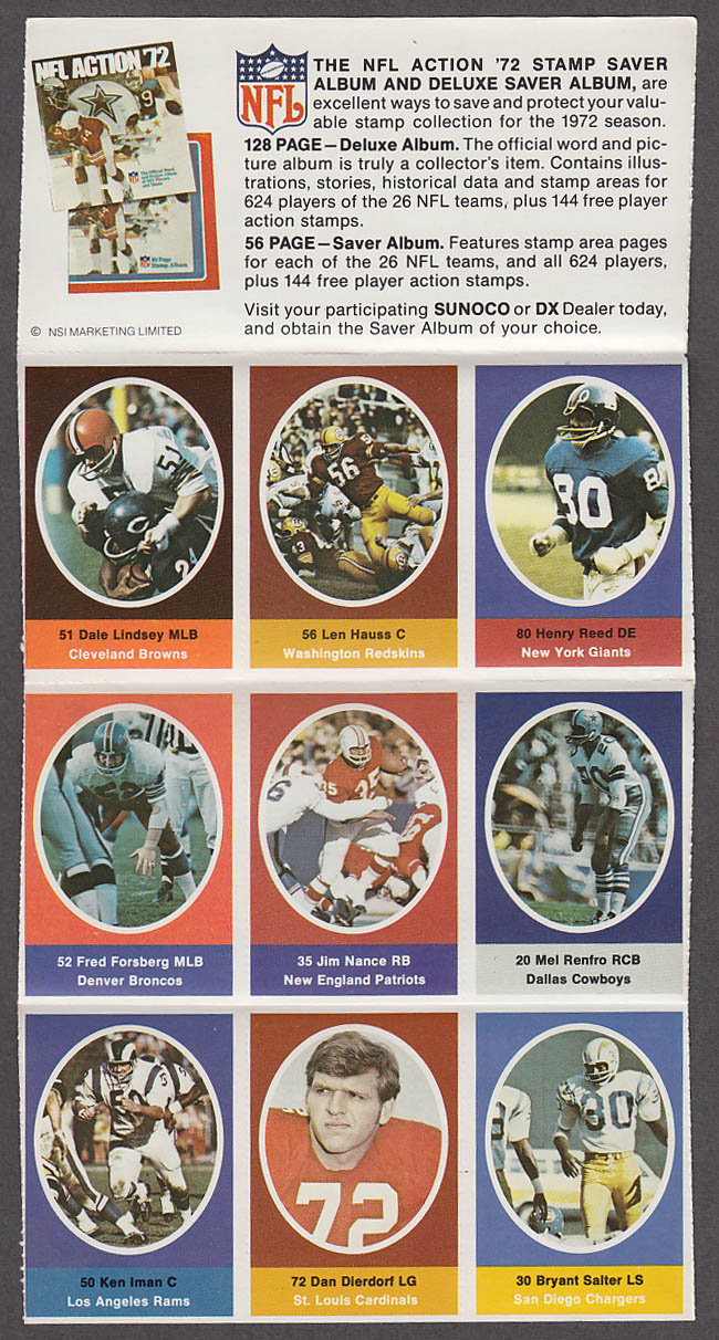 1972 NFL '72 Sunoco DX stamp set of 9 HOF Cardinals Dierdorf Cowboys Mel Renfro