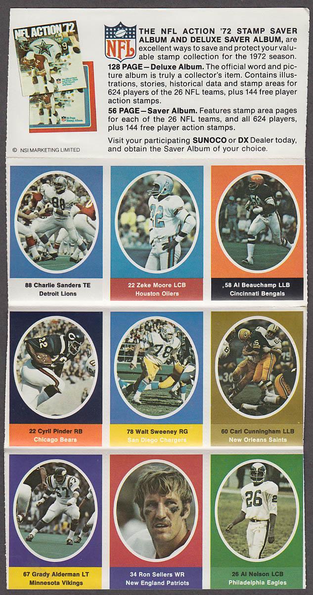1972 NFL '72 Sunoco DX stamp set of 9 HOF Detroit Lions Charlie Sanders ++