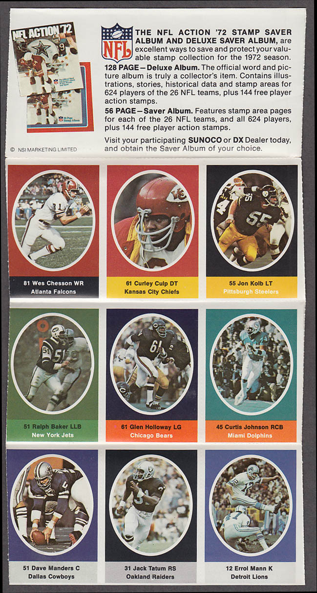 1972 NFL '72 Sunoco DX stamp set of 9 HOF KC Chiefs Curley Culp + Jack Tatum +