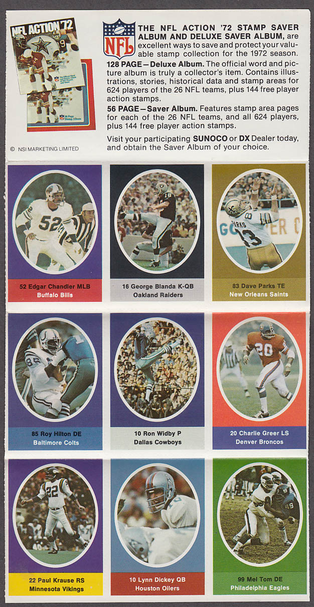 1972 NFL '72 Sunoco DX stamp set of 9 HOF Raiders George Blanda + Lynn Dickey +